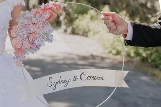 wedding-day-accessory-photo-prop-circle-with-flowers-made-of-paper-banner-with-couple-names