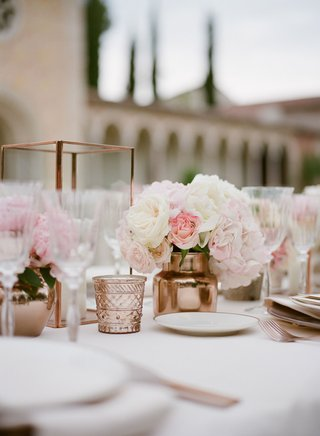 wedding-reception-copper-candle-votive-and-vase-low-centerpiece-reception-decor-white-pink-flowers