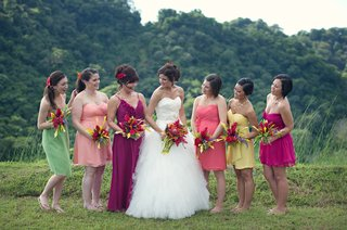 mismatched-short-bridesmaid-dresses-in-tropical-colors