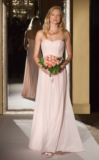 oleg-cassini-davids-bridal-bridesmaid-dress-strapless-gown-corset-bodice-long-mesh-skirt-pink