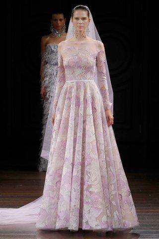 naeem-khan-bridal-spring-2017-amsterdam-long-sleeve-wedding-dress-flower-details-illusion-neckline