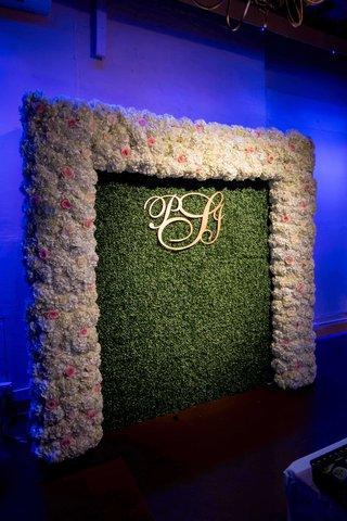 pia-toscano-american-idol-jimmy-ro-smith-jennifer-lopez-wedding-floral-wall-initials-greenery