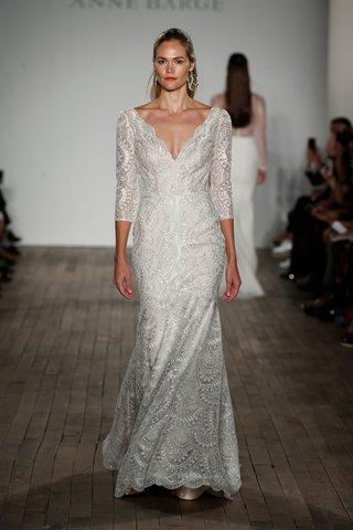anne-barge-fall-2019-wedding-dress-renzo-v-neck-three-quarter-sleeve-bridal-gown-geometric-art-deco
