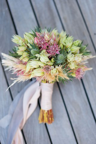 wedding-bouquet-thistle-protea-unique-bridal-bouquet-pink-light-pink-ribbon-wrapped-stems