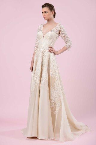 gemy-maalouf-2016-three-quarter-sleeve-v-neck-wedding-dress-in-golden-tone