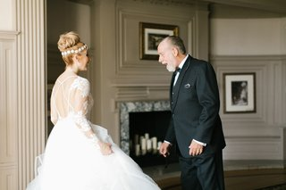 father-of-the-bride-in-tuxedo-gasps-when-he-sees-his-daughter-in-hayley-paige-wedding-dress