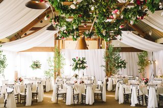 ivory-drapery-ivy-trellis-and-tall-rose-centerpieces
