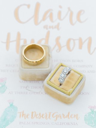 five-stone-halo-wedding-ring-plain-yellow-gold-band