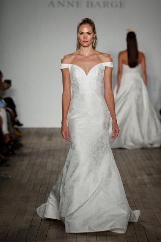 anne-barge-fall-2019-wedding-dress-frankie-off-shoulder-trumpet-gown-flower-design-jacquard-skirt