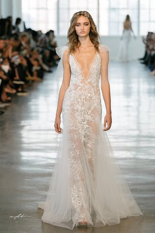 berta-fall-2018-wedding-dress-plunging-neckline-bridal-gown-with-sheer-skirt-overlay-and-tulle