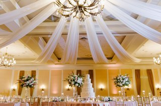 wedding-reception-grand-chandelier-with-drapery-cake-under-light-fixture-classic-ballroom-reception
