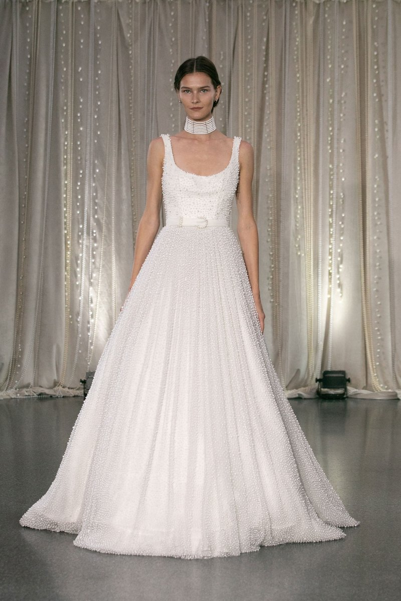 Bridal Gown with Pearls by Lee Petra Grebenau
