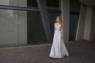 limor-rosen-2017-lillian-wedding-dress-v-neck-sheath-blouson-top-chiffon-skirt