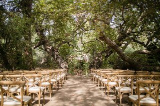 wood-chairs-under-canopy-of-trees-outdoor-wedding-ceremony-natural-theme-camp-theme-rustic-wedding