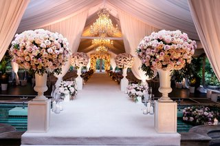 wedding ceremony four seasons hotel los angeles at beverly hills natalie sofer weddings pink drapery flowers