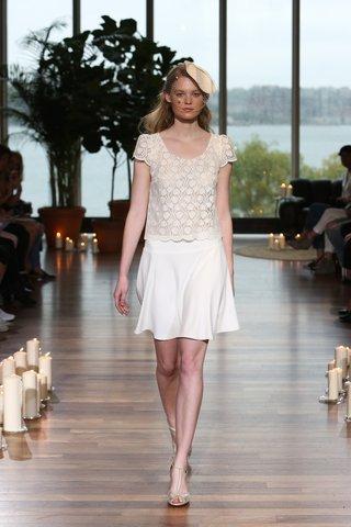 laure-de-sagazan-fall-2018-short-sleeve-graphic-lace-top-skater-skirt-beauvoir-fascinator