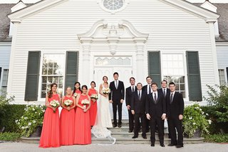 bride-in-ines-di-santo-dress-with-coral-bridesmaids-and-groomsmen