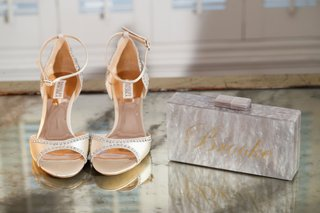 wedding-accessories-mother-of-pearl-box-clutch-and-gold-name-personalized-badgley-mischka-peep-toe