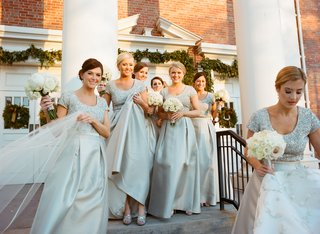 silver-short-sleeve-sequin-bridesmaid-dresses-with-full-skirts