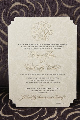 tan-wedding-invitation-with-lace-background-and-gold-monogram-and-print