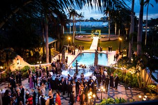 wedding-ceremony-outdoor-after-sunset-guests-getting-drinks-from-bar-by-pool-at-hotel-wedding-ideas