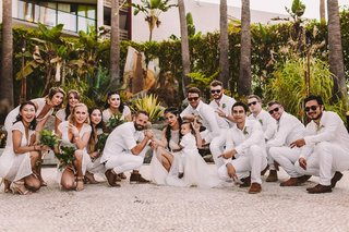boho-chic-wedding-party-in-crouched-rap-pose