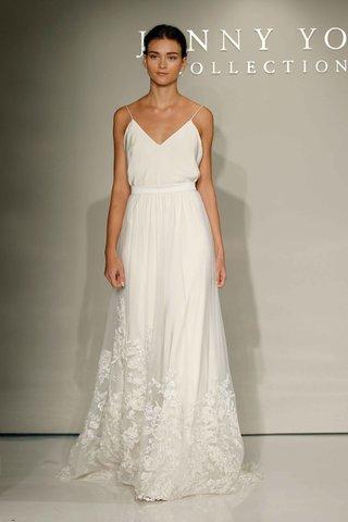 jenny-yoo-bridal-2016-spaghetti-strap-wedding-dress-with-flower-embroidered-skirt