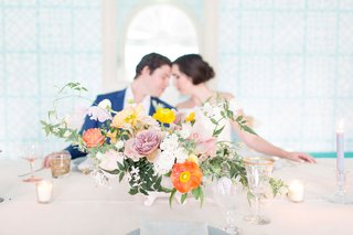 the-confused-millenial-wedding-shoot-low-centerpiece-arrangement-freshly-picked-vibe-glassware