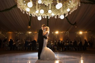bride-in-berta-mermaid-wedding-dress-with-groom-in-tuxedo-on-dance-floor