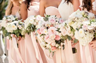 pastel-hued-bouquets-bride-bridesmaids-pink-foliage-ribbons-california-wedding