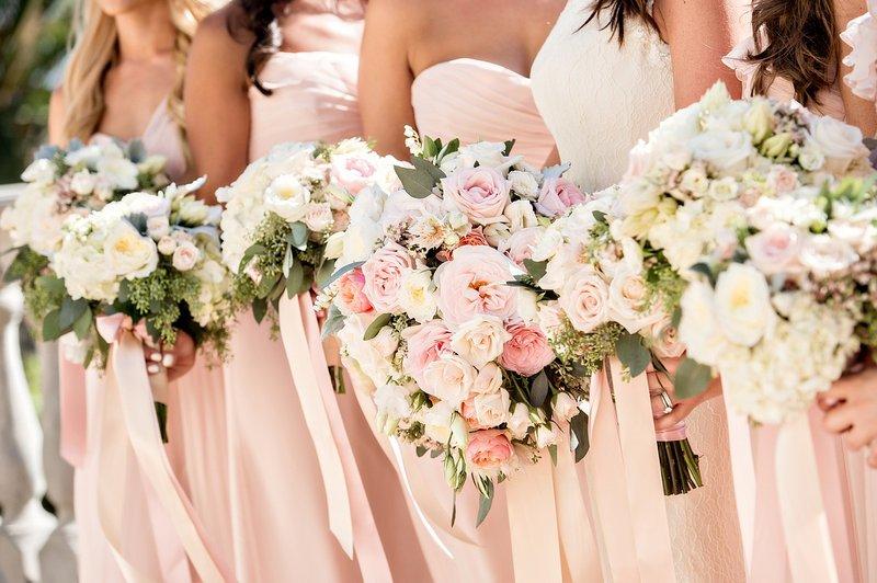 Bride & Bridesmaids, Pastel-Hued Bouquets