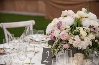 black-and-white-table-number-low-centerpiece-with-pink-lavender-flowers-white-peony-and-rose-greens