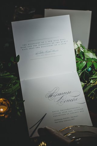 wedding-menu-with-quotes-about-food-gastronomy-fare-cuisine-with-amuse-bouche-calligraphy-menu