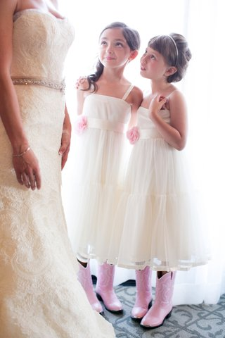 rustic-country-wedding-pink-flower-girl-cowboy-boots