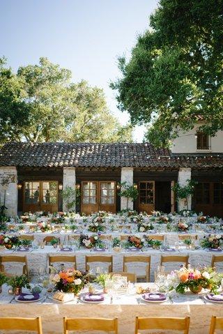 holman-ranch-wedding-rustic-courtyard-with-purple-green-orange