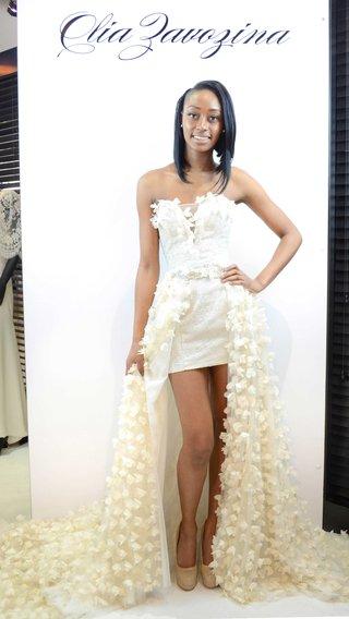 olia-zavozina-spring-2017-short-wedding-dress-with-flower-applique-overskirt-strapless