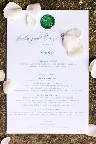 white-and-green-menu-design-with-wax-seal-swan-motif-and-southern-favorites