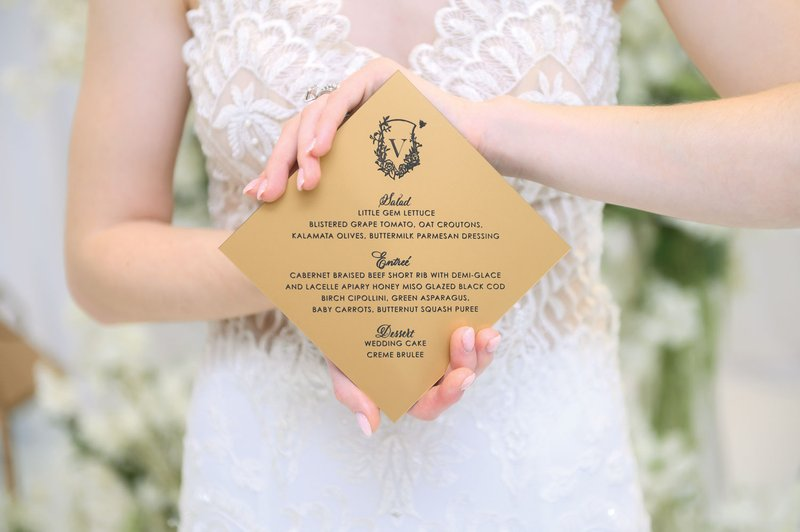 Gold Diamond Wedding Menu