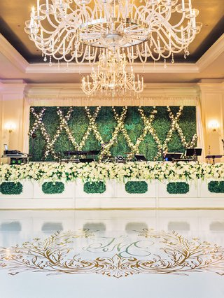wedding-reception-grand-chandelier-over-custom-wedding-crest-dance-floor-hedge-wall-band-stage