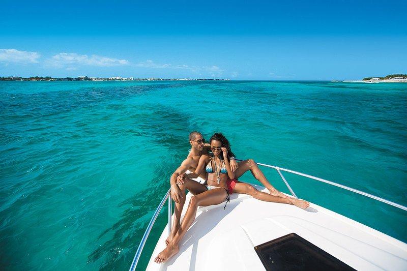 Couple on Boat at Sandals Royal Bahamian