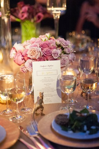wedding-reception-menu-with-purple-and-gold-script