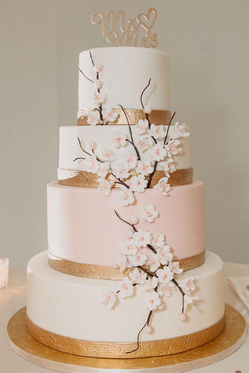 White, Pink & Gold Wedding Cake