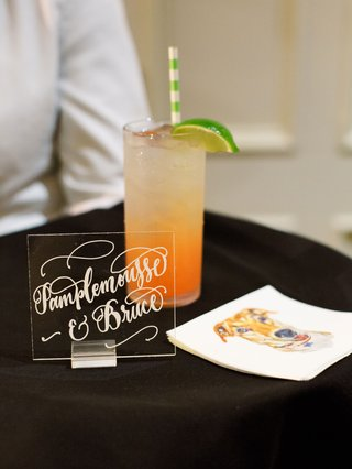 wedding reception signature cocktail grapefruit green white stripe straw napkin with dog illustration
