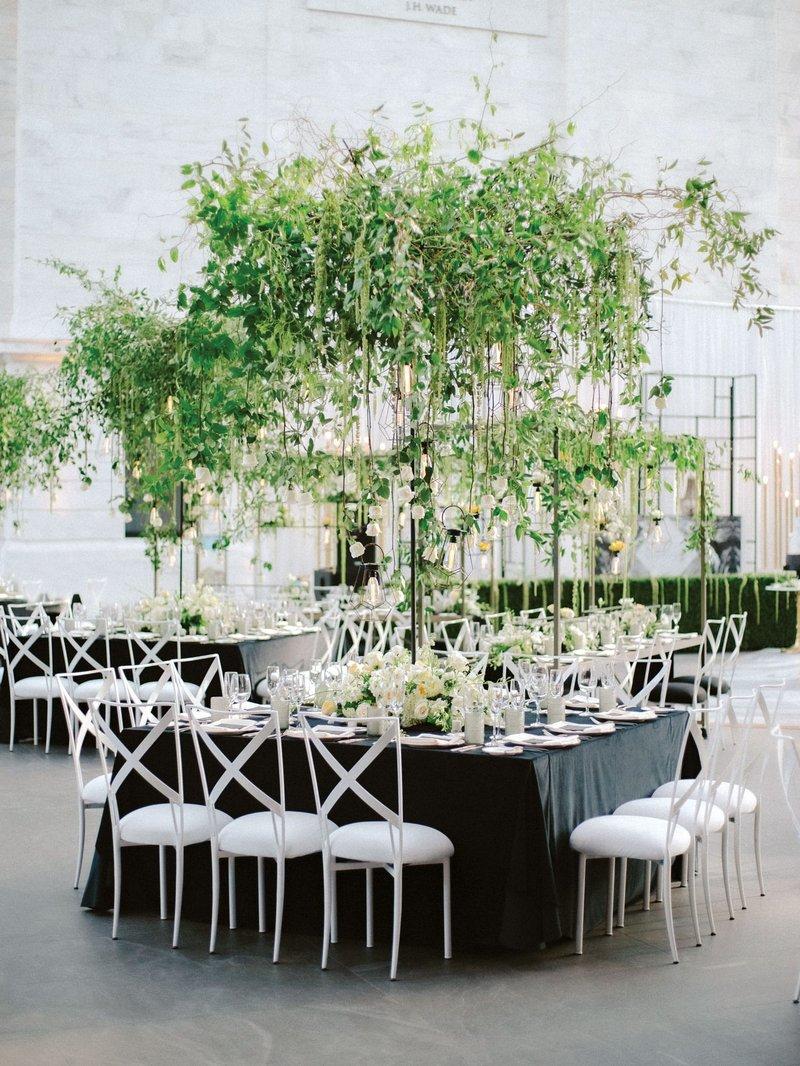 Black, White & Greenery Reception