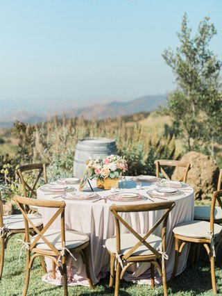 megan-nicole-youtube-singer-reception-malibu-wine-barrel-vineyard-chair-wood-mismatch-china