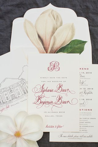 wedding-save-the-date-card-with-magnolia-illustration-and-sketch-of-venue-monogram-red-burgundy