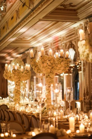 oversized-wedding-flower-centerpiece-candelabra-rose-and-hydrangea-white-gold-decor-candlelight