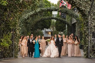 bride-in-le-spose-di-gio-blush-gown-bridesmaids-in-adrianna-papell-maid-of-honor-in-teal