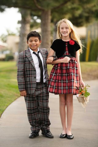 carol-leifer-and-lori-wolfs-adopted-son-bruno-and-their-niece-lilly-flower-girl-ring-bearer-plaid