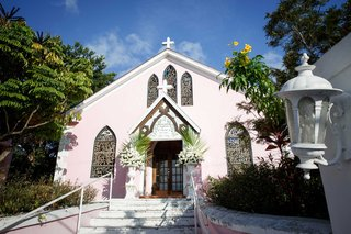 harbour-island-bahamas-wedding-ceremony-venue-little-pink-church-with-crosses-and-stained-glass